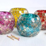 Glass Mosaic Candle Holder Handcrafted Sparkle For Your Table Dogwood Hill Gifts
