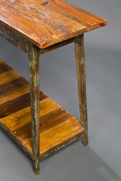 Heart Pine Console Table With Shelf Landrum Tables