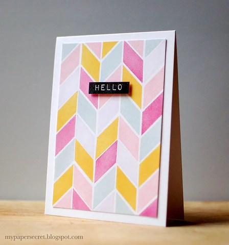 chevron watercolor print card with simple shapes set 1