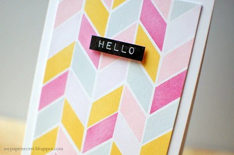 chevron watercolor print card with simple shapes set 2