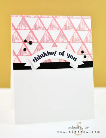faux veneer card with coral-colored ink 1