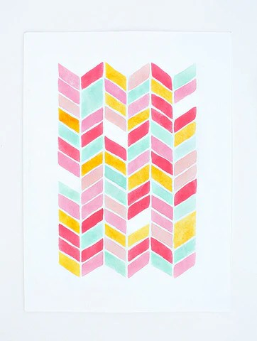 chevron watercolor print