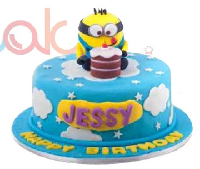 Odc Minion Themed Fondant Birthday Cake