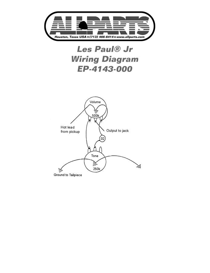 Wiring Kit for Gibson® Les Paul®  SG® Jr – Allparts UK
