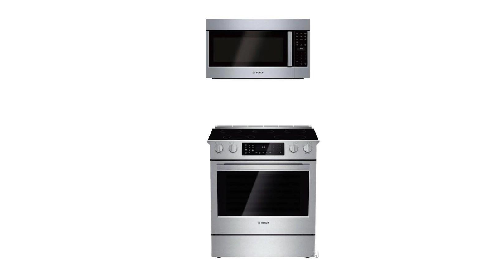 bosch 800 30 slide in electric range hei8054u microwave oven hmv5053u combo