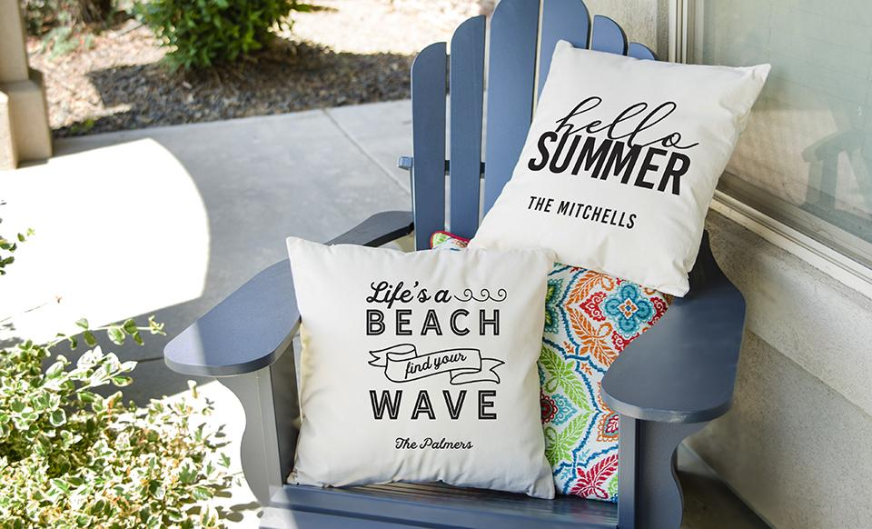 personalized summertime throw pillow covers