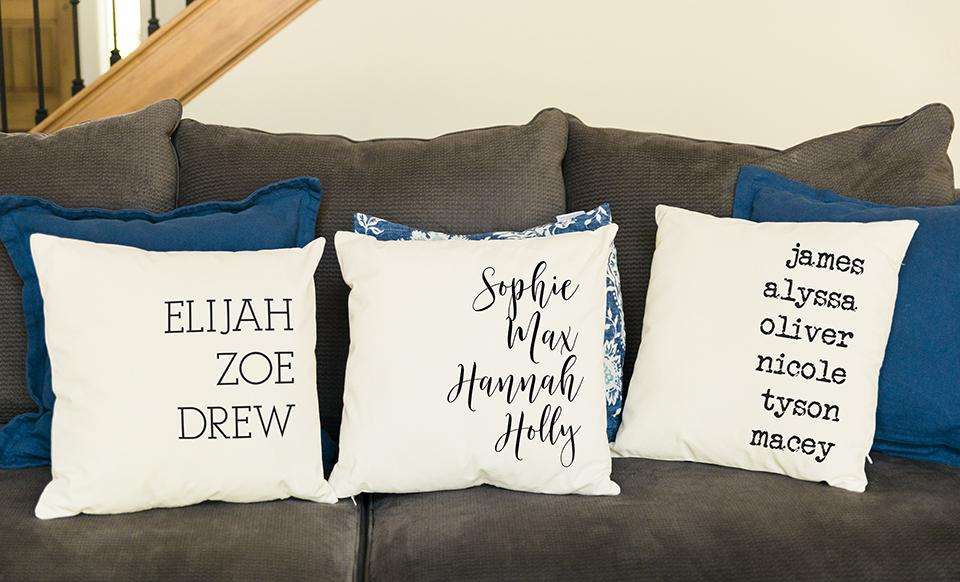 corporate 5 dollar discount page customized family names throw pillow cover
