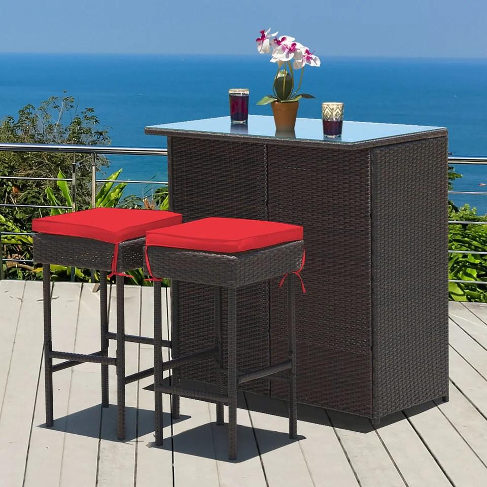 dreamline outdoor bar sets garden patio bar sets 1 2 2 chairs and table set balcony bar table set dark brown
