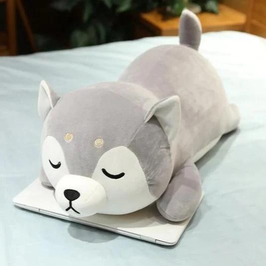sleepy kawaii grey husky plush sm med lg giant small 35cm