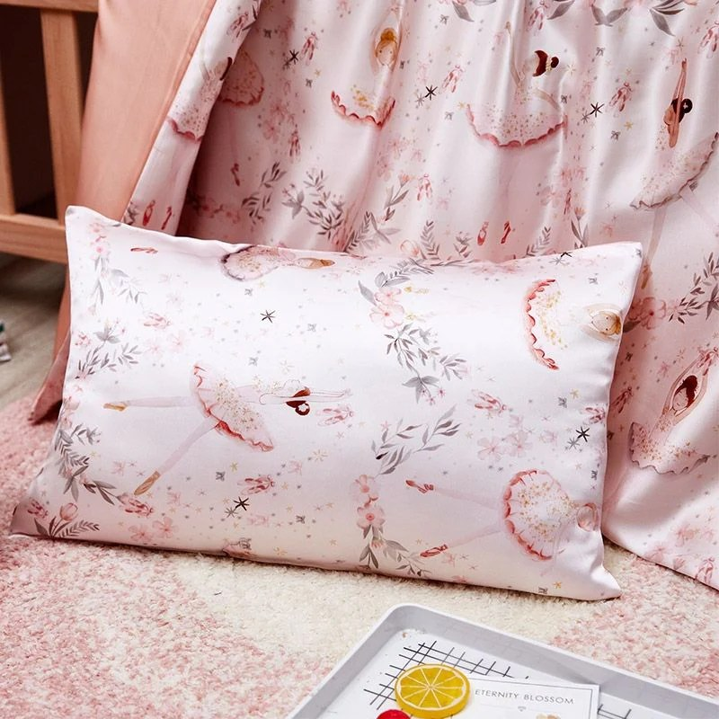 childrens luxury pink ballerina design pillowcase pure 100 mulberry