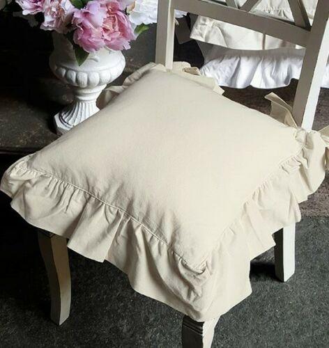 Cuscino sedia con voulant e zip sfoderabile holly cm 40x40 made. Copricuscino Sedia Puro Cotone Con Gala Colore Ecru Bicolor Blanc Mari Miriam Home Shabby Chic Country Style