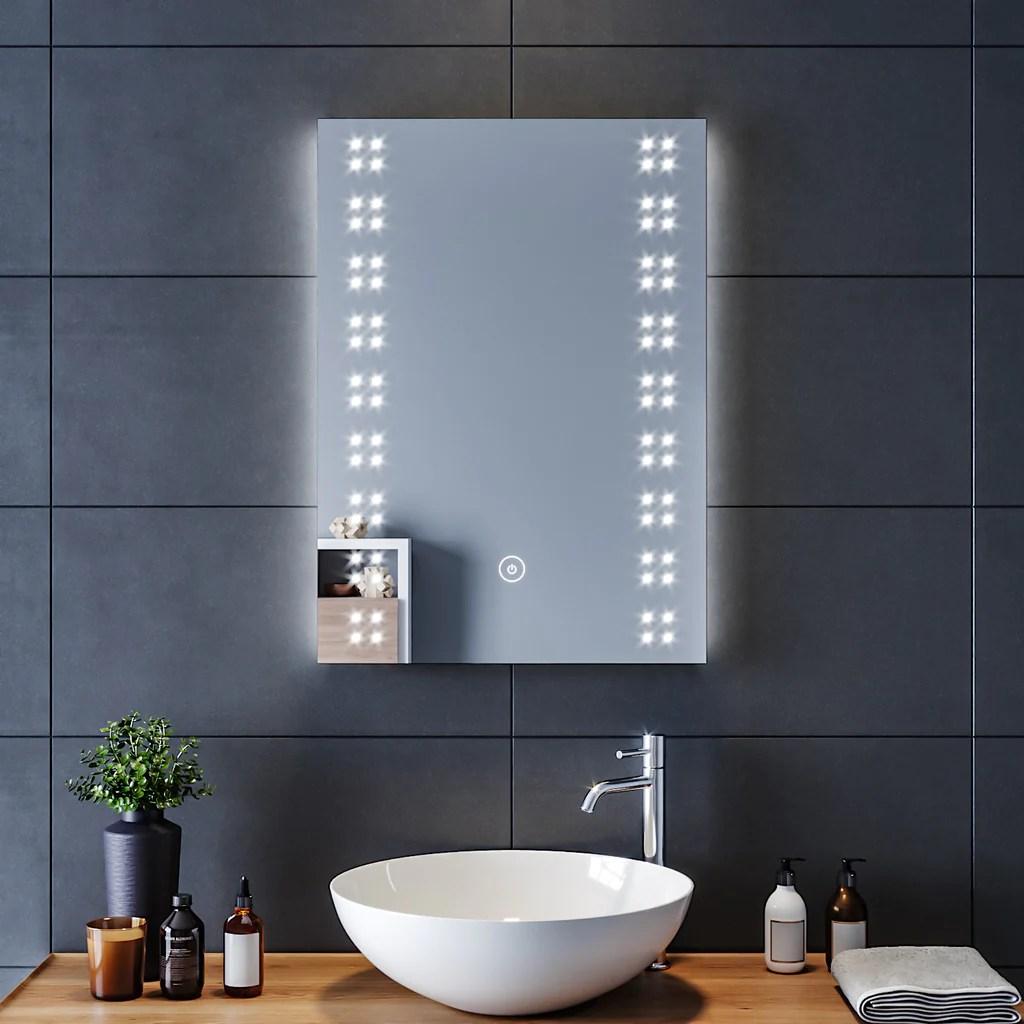 Sirhona 70x50cm Miroir Salle Bain Mural Avec Eclairage Led Miroir Muraux Avce Anti Buee Fonction Cosmetiques Mural Lumiere Illumination Sirhona