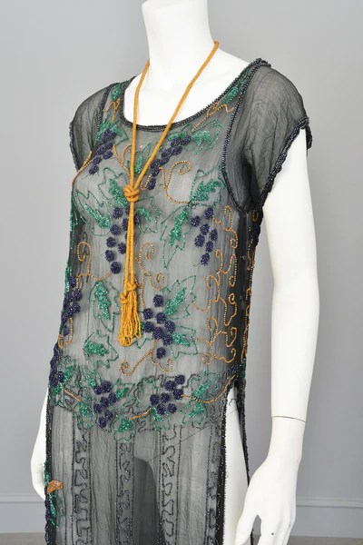 1920s Black Chiffon Purple Gold Green Grapes Beaded Tabard