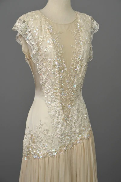 Vintage 80s 90s Beaded Lace Silk Chiffon Flapper Dress