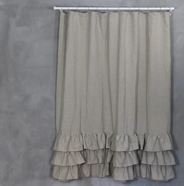 Washed Layered Ruffles Linen Shower Curtain Fabric Shower Curtains Linenshed