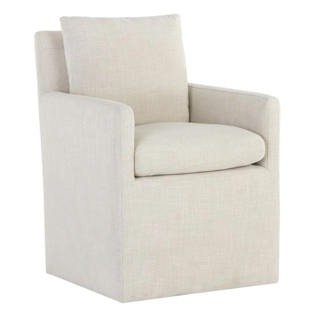 chaise de salle a manger a accoudoirs en tissu blanc glenn