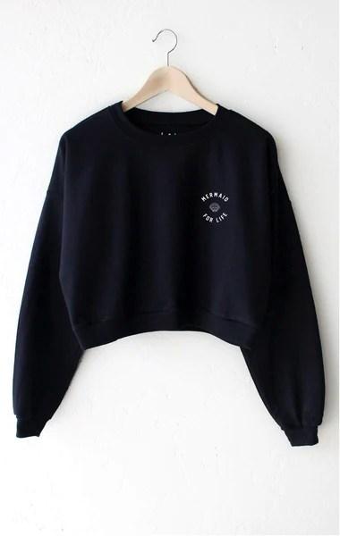 Mermaid For Life Cropped Sweatshirt NYCT CLOTHING