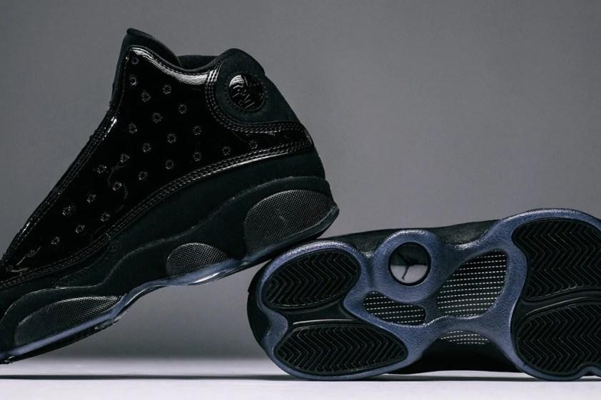 "54a46e5839e896 Air Jordan Youth Retro 13  Cap and Gown  ""Black Black"" Coming Soon.  Feature. JORDAN"