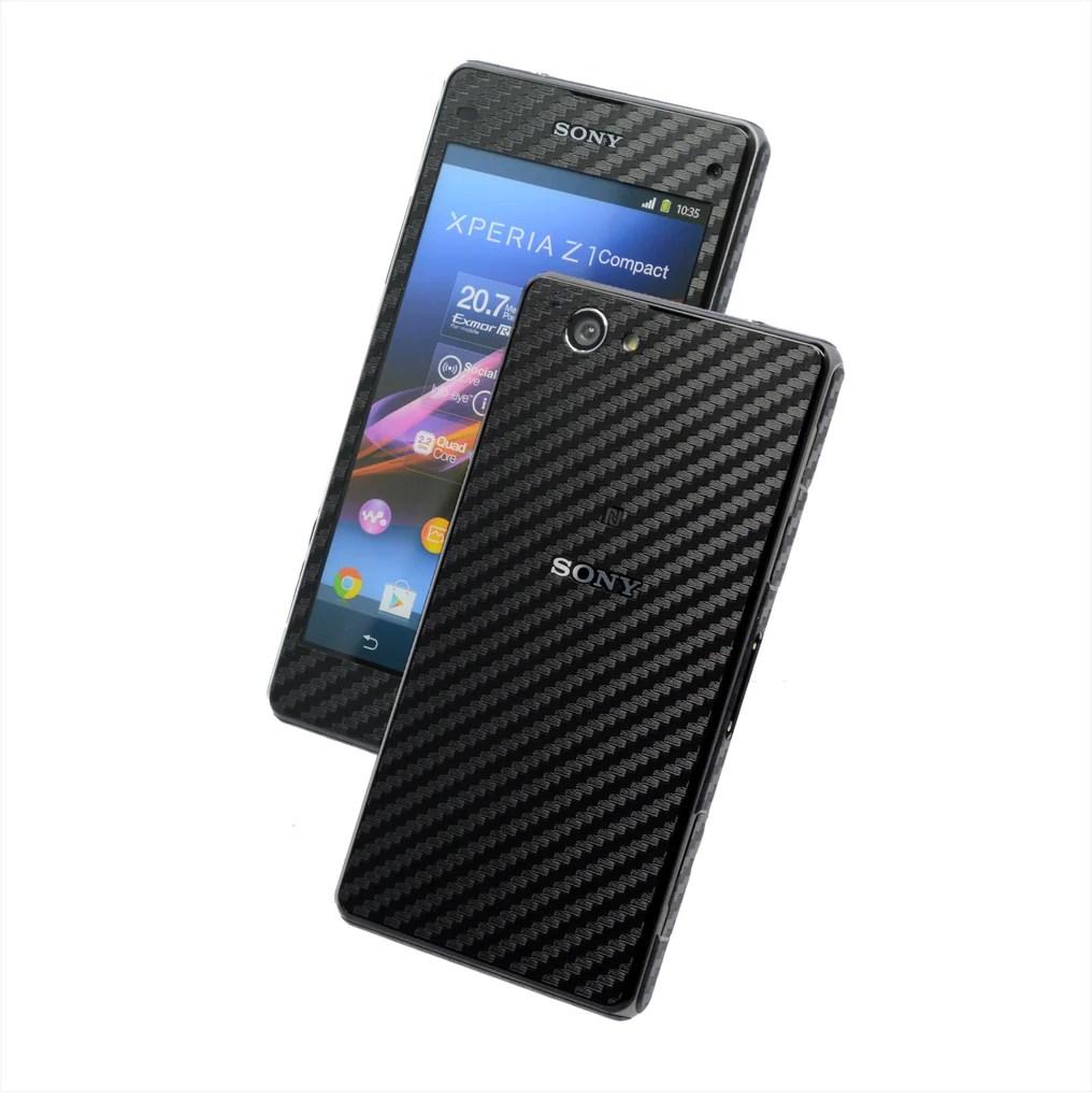 SONY Xperia Z1 COMPACT Black CARBON Fibre Skin / Cover ...