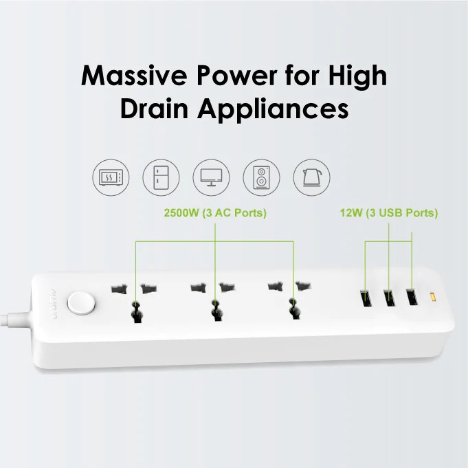 oraimo PowerHub 3 AC Outlets 3 USB Ports Power Strip – oraimo Nigeria