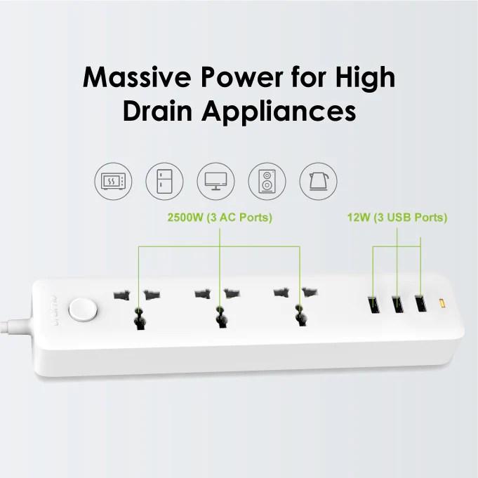 oraimo PowerHub 3 AC Outlets 3 USB Ports Power Strip – oraimo Nigeria