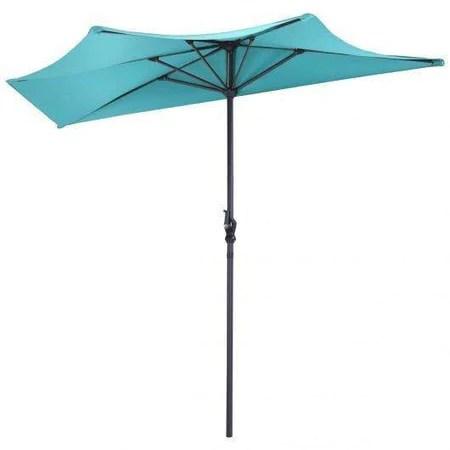 9ft patio bistro half round umbrella turquoise