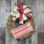 Farmhouse Burlap Wreath Farmhouse Wreath Door Decor Donna S Creative Designs