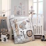 Jungle Safari Gray Tan White Nursery 6 Piece Baby Crib Bedding Set