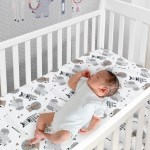 Jungle Safari Gray Tan White Nursery 6 Piece Baby Crib Bedding Set