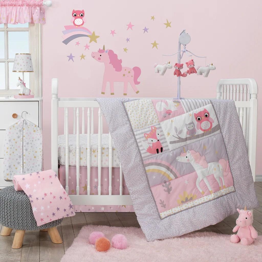 rainbow unicorn pink purple gold baby fitted crib sheet