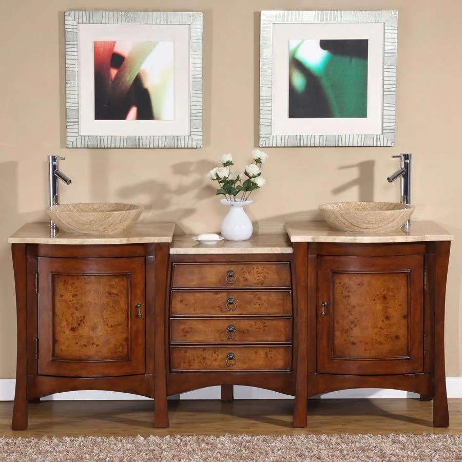 silkroad exclusive double sink vanity free standing double vessel sink bathroom vanity with travertine top 72 inches w x 22 inches d x 36 in