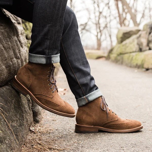 Cognac Suede Wingtip Boot Thursday Boot Company