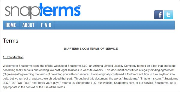 SnapTerms Terms of Service