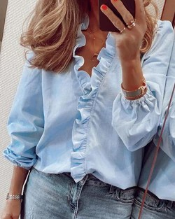Plain Long Sleeve Ruffles Casual Top