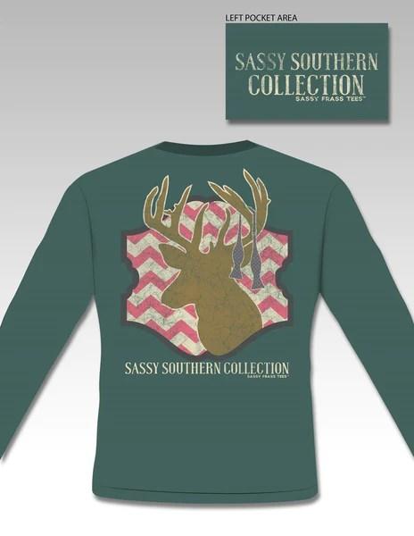 SALE Sassy Frass Preppy Deer Chevron Long Sleeve Bright