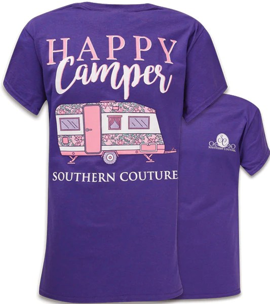 Southern Couture Preppy Happy Camper Lilac Purple T Shirt