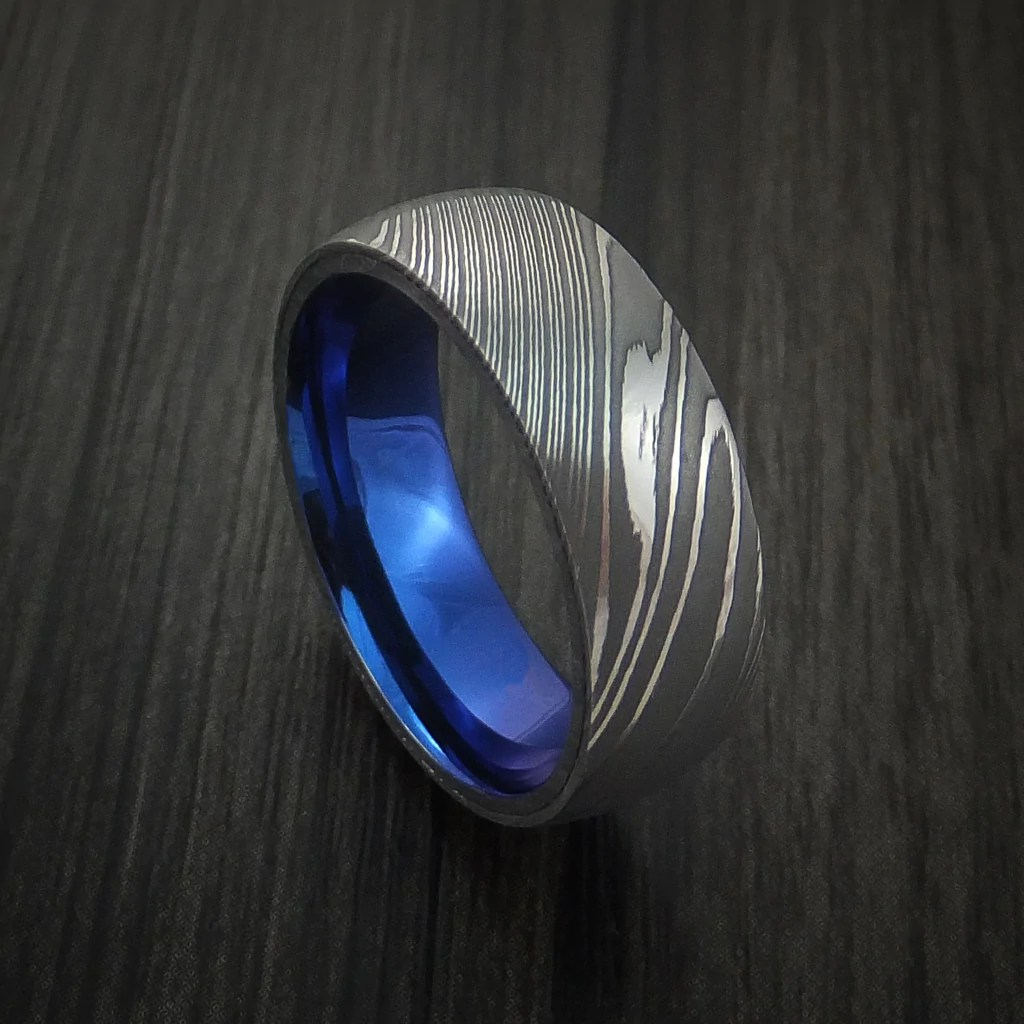 Damascus Steel Ring With Anodized Titanium Interior Sleeve