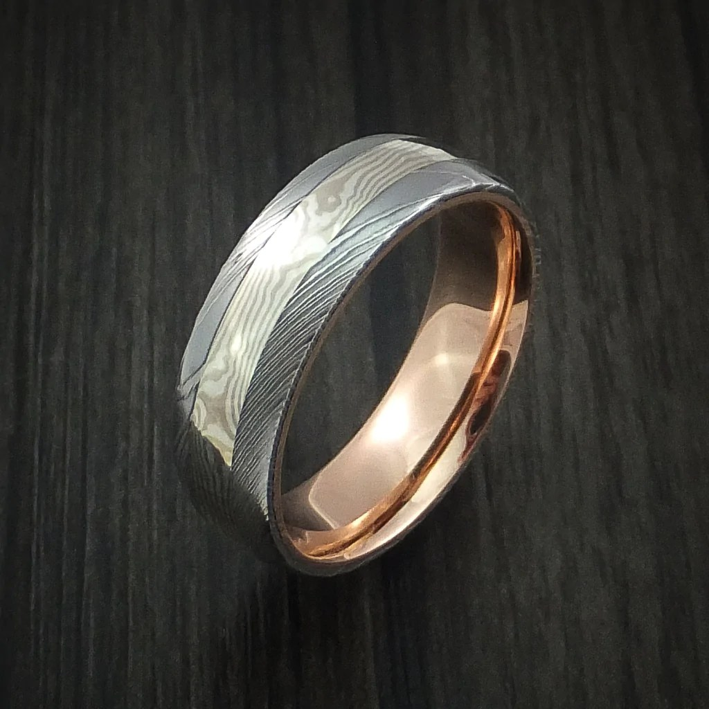 Damascus Steel And Mokume Gane Ring With 14k Rose Gold