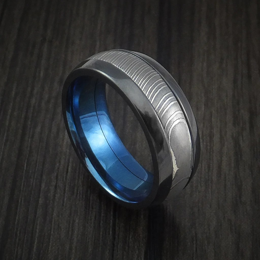 Black Zirconium And Damascus Steel Band With Anodized