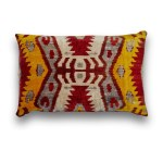 Silk Velvet Ikat Traditional Lumbar Pillow Snobstuff