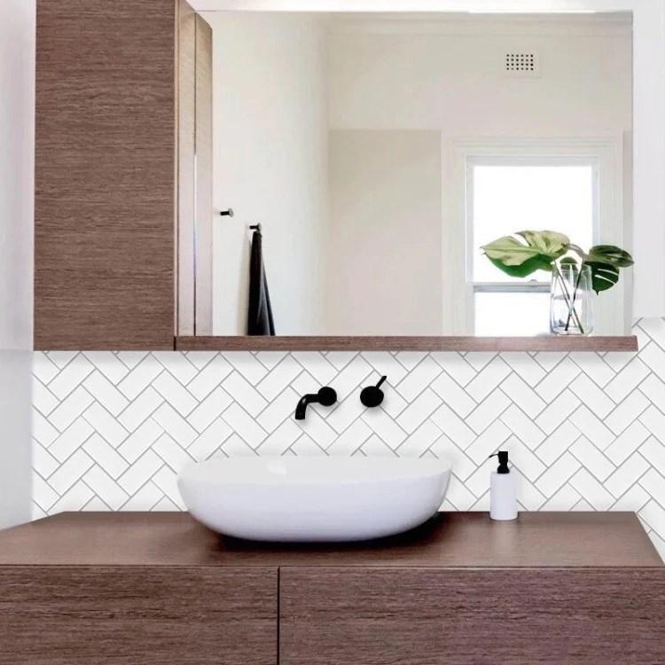 white grey wide herringbone tile 28cm x 28cm