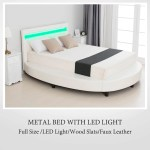 Modern White Upholstered Faux Leather Platform Bed White Full Solid Wooden Slats Support Mecor Full Size Led Bed Frame With 8 Color Changing Led Lights Headboard Home Kitchen Furniture
