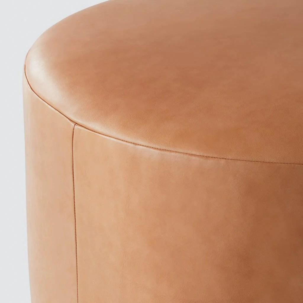large leather ottomans poufs