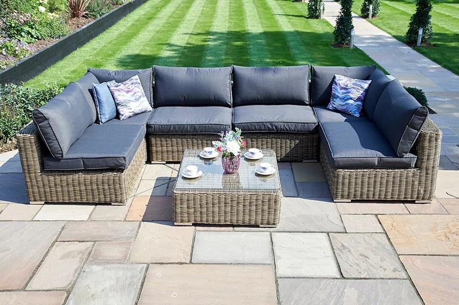 7 piece mayfair modular rattan garden furniture set t