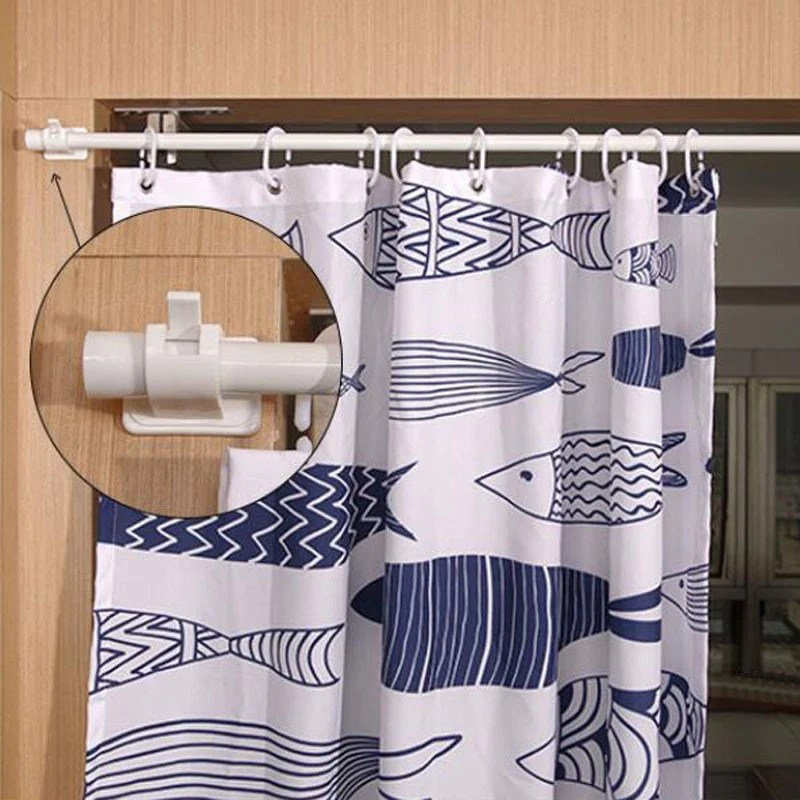 adjustable curtain rod clips wall mounted storage hooks hanger racks for home and bathroom 2pcs