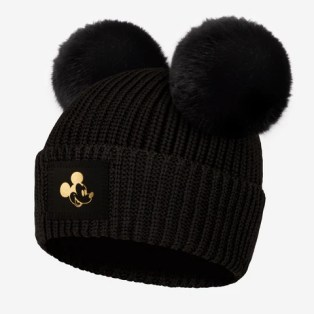 Pre-Order Black Mickey Mouse Gold Foil Lightweight Double Pom Beanie