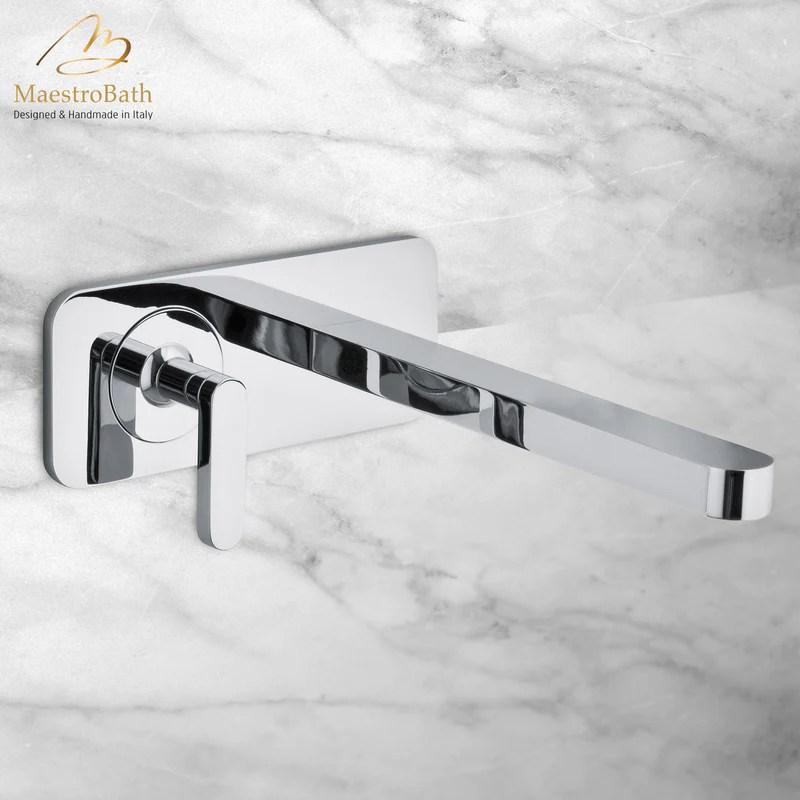 modern italian wall mount bathroom faucet polished chrome