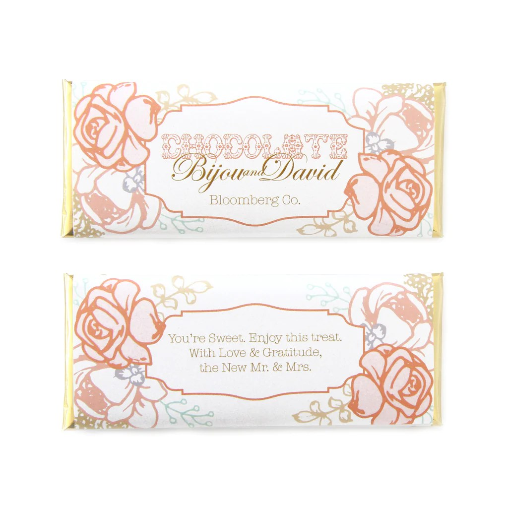 Peach And Blush Vintage Rose Personalized Candy Bar