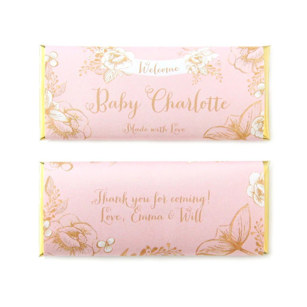 Gold Floral Rustic Personalized Candy Bar Wrapper Sweet