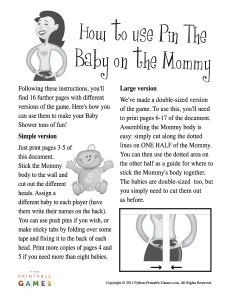 Pin A Baby On The Mommy Printable Games
